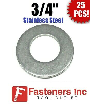 """(25) 3/4"""" Stainless Steel Flat Washers 18-8 Stainless 1 3/4"""" OD / .105 Thick"""