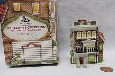 "Dept 56 Charles Dickens Christmas Ornament ""The Crown & Cricket"" 1992"