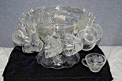"Anchor Hocking ""Grapes & Vine/Harvest"" Punch Bowl Set w/ Stand (M4119)"