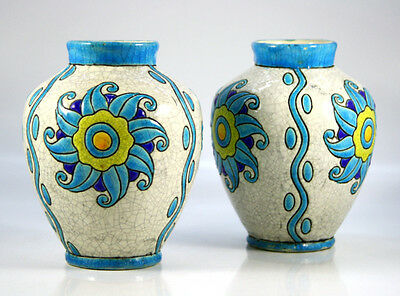 Charles Catteau Boch Freres Pair of Ceramic Vases