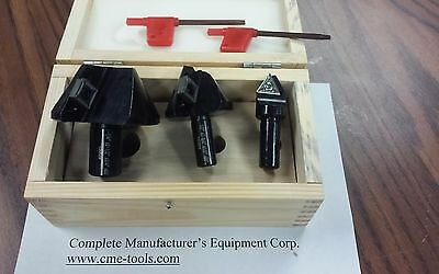 "3pcs 60 degree indexable countersinks 1/4 to 2-1/4"" range #Z-2516-0900-new"