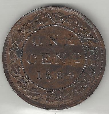 CANADA,  1894,  LARGE CENT,  BRONZE,  KM#7,  ALMOST UNCIRCULATED Details (Note)