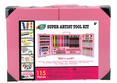 Pink Deluxe Art Box Set Unique Design Pencil Crayon Marker Oil pastel Paint