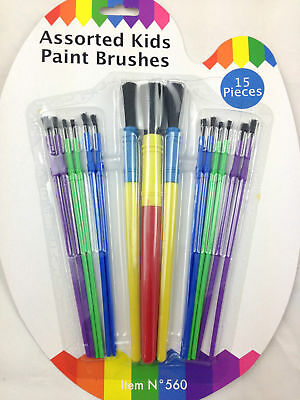 15 ASSORTED PLASTIC PAINT BRUSHES FOR KIDS CHILDREN ART AND CRAFT colorful