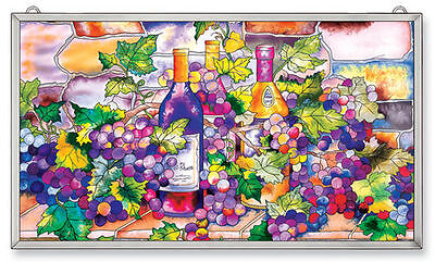 """Amia Stained Glass Wine And Cheese 13"""" X 23"""" Suncatcher Panel #9778"""