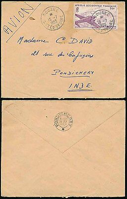 FRENCH WEST AFRICA SENEGAL 50F AIRMAIL to INDIA PONDICHERRY DOUBLE CIRCLE 1955