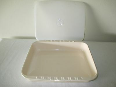 Tupperware 2 Piece Almond Microwave Rectangle Stack Cooker 3 Qt Base With Seal