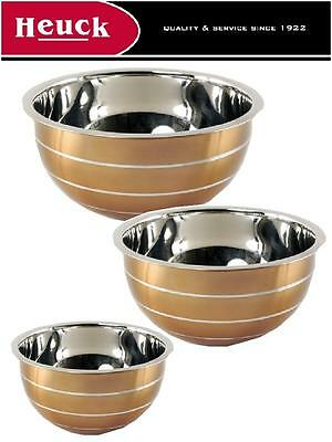 M.E. Heuck JEWEL COPPER Stainless Steel MIXING BOWL SET 5, 3 & 1.5 Qt *US Made