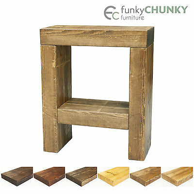 Solid Wood Side End Table w Shelf Lamp Stand Tables Bedside Chunky Wooden Beams