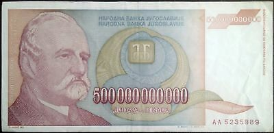 Biggest European banknote-500 billion dinars-year 1993-Yugoslavia hyperinflation