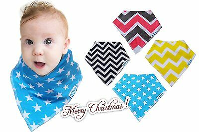 *NEW* 4 Baby Bandana Drool Food Eating Bibs Unisex Boys Girls Baby Shower Gift!