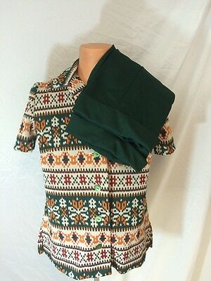 Vintage 1960s 1970s Handmade Two Piece Suit Geometric Pattern Mod Hipster