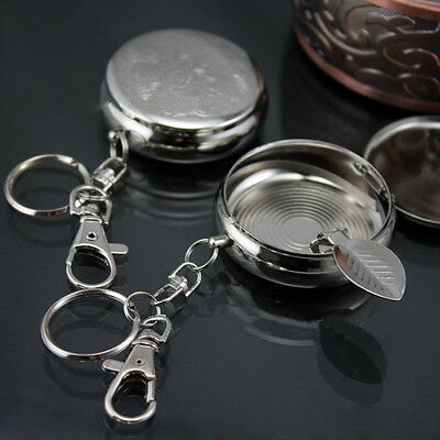 Steel Stainless Round Pocket Cigarette Ashtray With Key chain Portable hot Gift