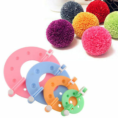 8pcs 4 Sizes Essential Pompom Maker Fluff Ball Weaver Needle Knitting Wool Tools