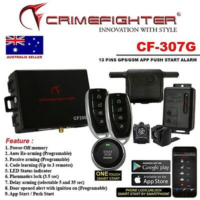New Crimefighter Cf307G 1Way Auto&push Start Car Alarm With Gps Tracking System