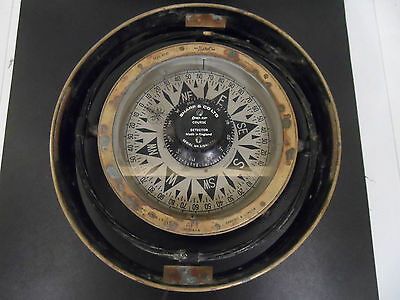 "HUGE 10"" maritime AFT SESTREL By HENRY BROWNE & BARKING LONDON binnacle compass"