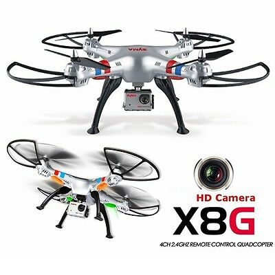SYMA X8G 2.4GHZ 4CH 5MP GoPro Style HD Video Camera RC QUADCOPTER Drone HEADLESS