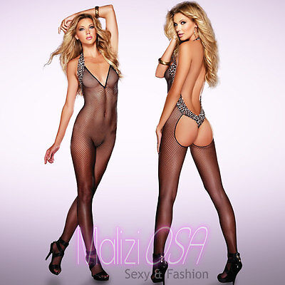 CATSUIT Bodystocking Rete Leopardata SEXY Hot Lingerie shop intimo Tutina Body