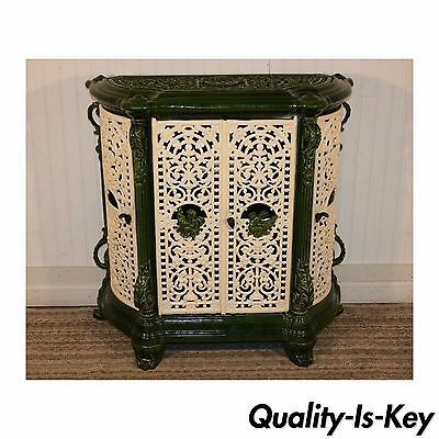Antique Victorian Cast Iron Green Porcelain Enamel Heater Register Cherubs vtg