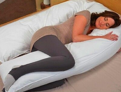 """20"""" x 130"""" White Oversized Total Body U Shaped Pillow With Zippered Cover"""