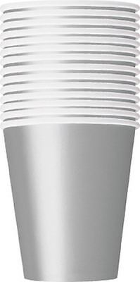 14 Party Paper Cups Solid Silver Colour 266Ml/9 Oz Tablewear Party Catering Cup