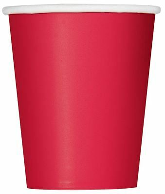 Solid Plain Ruby Red Colour 14 Party Paper Cups 266Ml/9 Oz Tablewear Catering