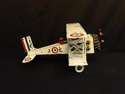 Antique Hand Made Folk Art BiPlane Various Metal Parts Painted Mid 20th Century