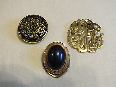 Beautiful Collectible Gold Tone Scarf Clip Set 3 Black Enamel Blue Cabochon NICE