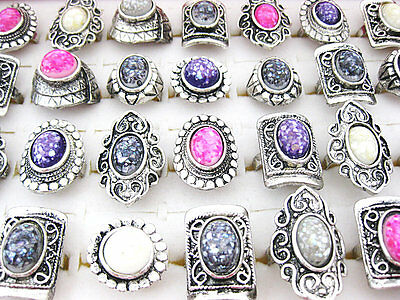 20Pcs Wholesale Mixed Lots Vintage Gemstone Shell Rings Jewelry New J213