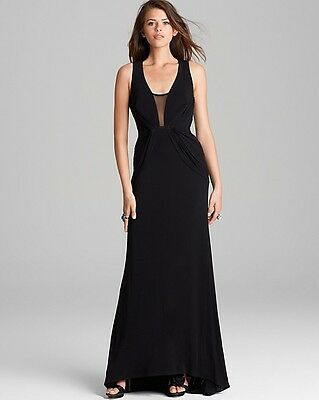 04ff09a853d ABS Allen Schwartz ~ Black Deep V Mesh Inset   Illusion Back Gown S NEW  492