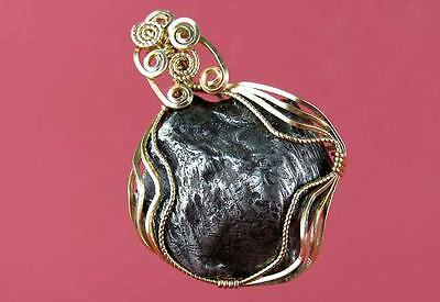 Iron Meteorite Pendant Wrapped In Gold