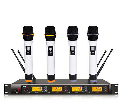 4 x 100 Channel UHF Digital Professional Wireless Cordless Microphone Mic System