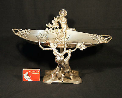 C.1900 Art Nouveau Wmf Silver Plated Centre Piece Naked Children Stealing Apples