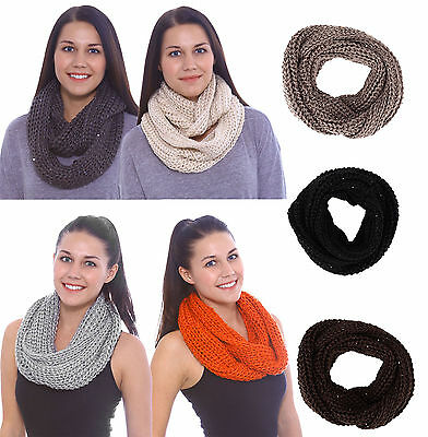 Lady Women Winter Warm Infinity 2 Circle Cable Knit Cowl Neck Long Scarf Shawl