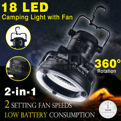 2in1 Tent Camping Combo LED Lantern and Fan Weather Resistant Hand Held Hook