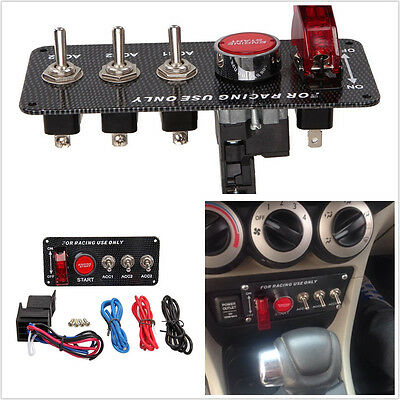 Carbon Fiber Panel Car Ignition Engine Push Start Button Toggle Switching ON-OFF