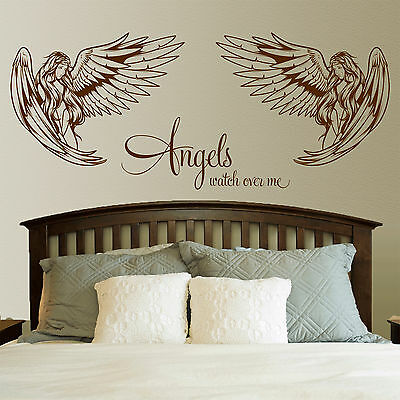 angel wall sticker angels watch over me quote bedroom lounge wall art decal