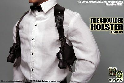 MG Toys 1/6 Scale Mens Black Shoulder Holster Set For Hot Toys Figure Body