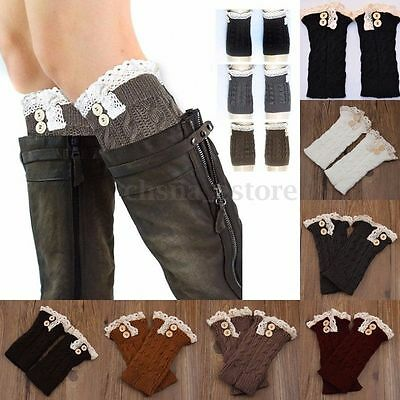 Crochet Knitted Lace Trim Boot Cuffs Toppers Leg Warmers Winter Socks For Women