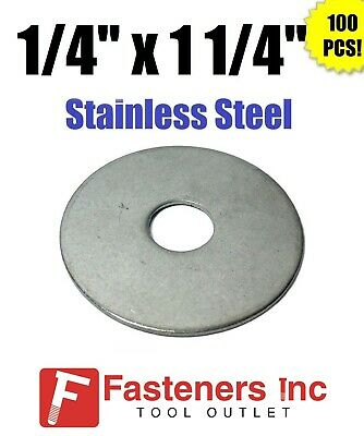 """(Qty 100) 1/4"""" x 1 1/4"""" OD Stainless Steel Fender Washers Type 304"""