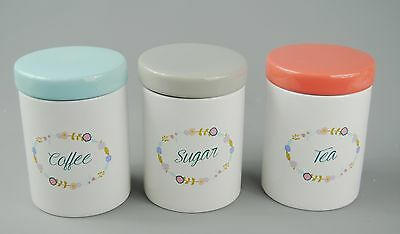 Tea Coffee Sugar Storage Canisters White ceramic Pink Green Blue   floral desi
