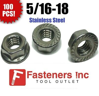 (Qty 100) 5/16-18 Stainless Steel Hex Flange Nut Locknuts Serrated