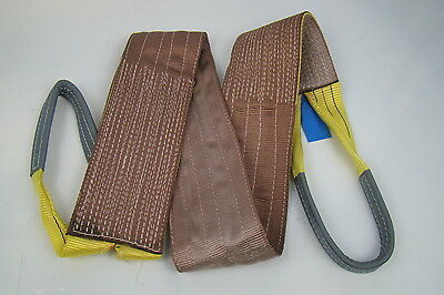 "6"" x 8' Brown Heavy Duty Nylon Sling Tow Recovery Strap 12,000 lbs Single Ply"
