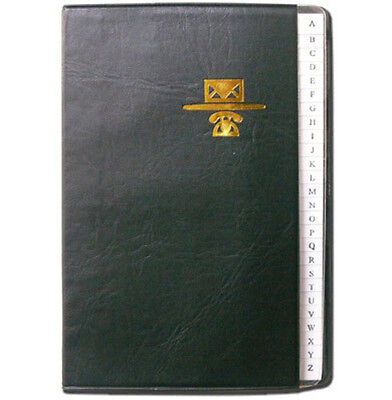 """Personal Phone and Address Book - Black Leather Like Binder - Size 5"""" x 7"""""""