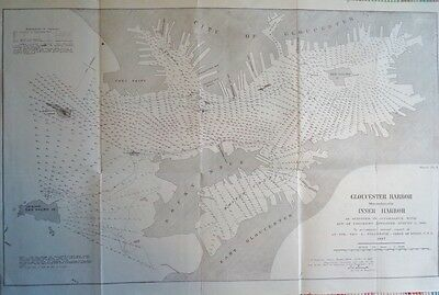1887 Gloucester Harbor Massachusetts Original Chart Fort Point Ten Pound Island
