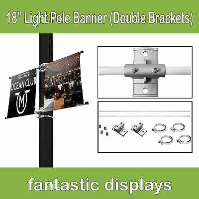 """18"""" Street Pole Double Banner Mounting Kit for Hemmed Banners with Pole Pockets"""