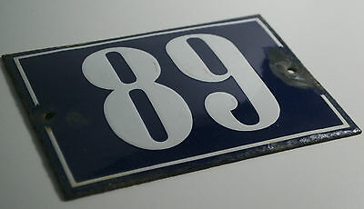 Vintage French/portuguese Blue Enamel Porcelain Door House Number Sign Plate 89