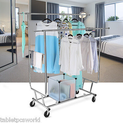 Adjustable Mobile Clothes Coat Garment Hanging Double Rail Rack Storage 2 FOLD