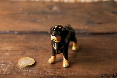 Ceramic Rottweiler Dog Animal Figurine Pottery Doll Ornaments Collectable Gift