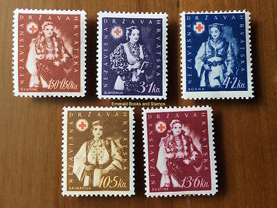 EBS Croatia Hrvatska NDH 1942 Red Cross set - Costumes - Michel No 86-90 MH*